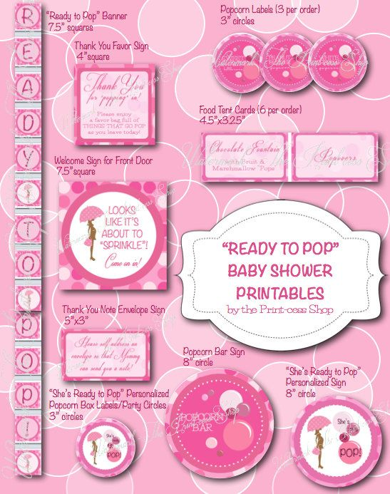 Ready To Pop Baby Shower Printable PINK By ThePrintcessShop, $8.00