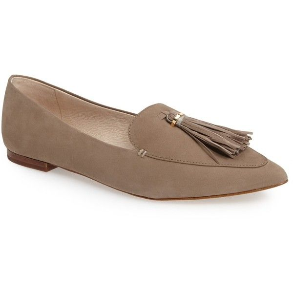 Louise et Cie Abriana Tassel Loafer (Women) ($47) ❤ liked on Polyvore featuring shoes, loafers, tassle loafers, pointy toe flat shoes, pointy toe shoes, anchor shoes and flat shoes