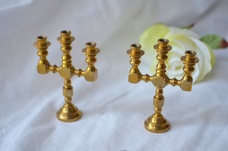 MINIATURE BRASS CANDELABRAS Set of 2 Three Arm Classic Solid Brass Candelabras Candlestick Holder Doll House Furnishings by StudioVintage on Etsy