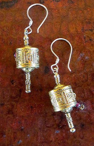 Prayer Wheel Brass Earring
