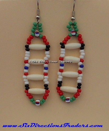 """Thin Bone Hair-pipe Dangle Afghanistan Veteran Earrings.  2"""" long not including the steel ear hook, composed of 1/2"""" thin bone rice beads and glass seed beads in the Afghanistan colors.  These were do"""