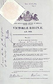 Constitution (Female Suffrage) Act 1895 (SA)  - the legislation that given South Australian women the right to vote and stand for election