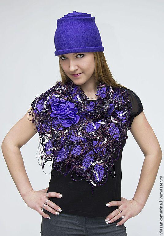 Купить Комплект: валяная шапка и шарф крейзи-вул, Азарина - фиолетовый, Валяная шапочка