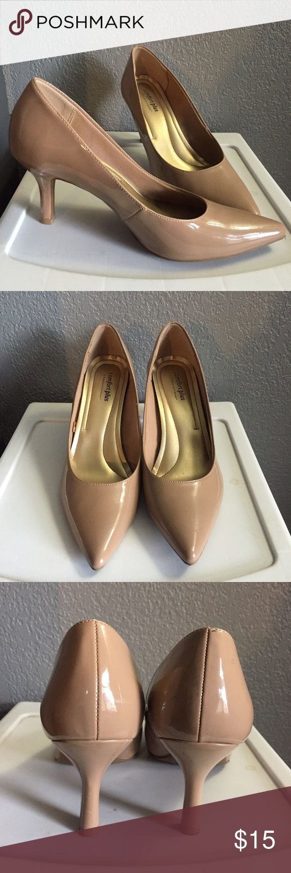"Nude Patent Leather Pumps 🚫NO TRADES🚫 Nude patent leather pumps. Comfort plus by predictions from Payless. Very comfortable. 3"" heel. Size 9. Shoes Heels"