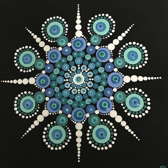 Dot Mandala Hand Painted On 8x8 Stretched Canvas Mandala