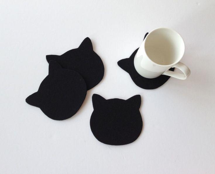 Siyah Keçeden 4 Adet Kedi Bardak Altlığı - Mutfak 363533 | zet.com