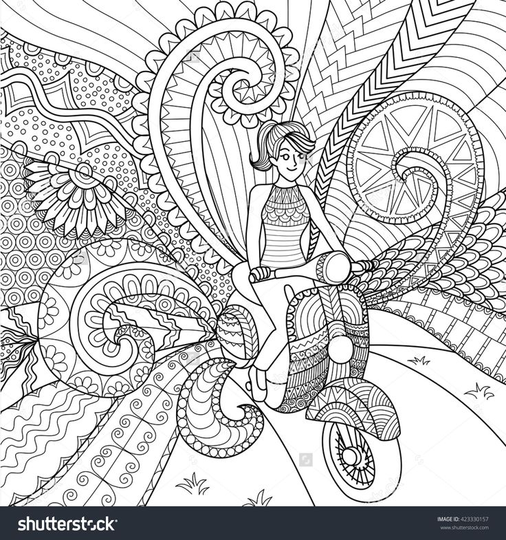 Girl Driving Scooter Clean Lines Doodle Design For Coloring Book For Adult Stok…
