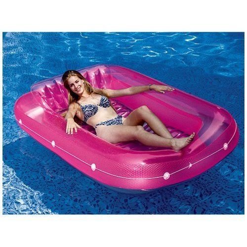 Swimming Pool Inflatable Lounge Tanning Raft Seat 71'' Summer Relaxing Pink NEW #PoolLounge