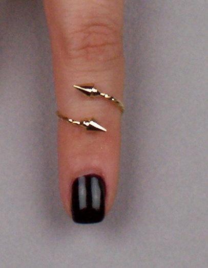 Gold Hipster Stud/ Studded Spike Knuckle/ Mid-Finger Ring. $12,99, via Etsy.