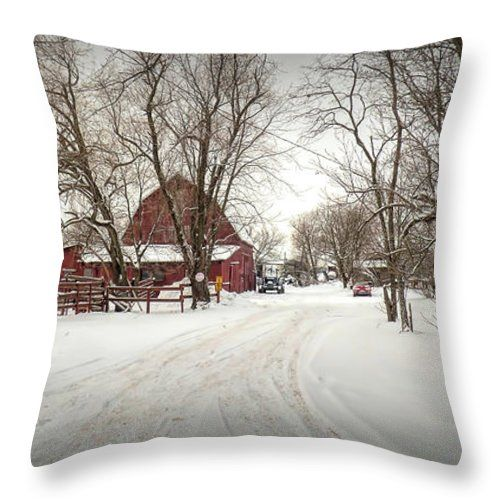 "Winter On The Farm Throw Pillow by Leslie Montgomery.  Our throw pillows are made from 100% spun polyester poplin fabric and add a stylish statement to any room.  Pillows are available in sizes from 14"" x 14"" up to 26"" x 26"".  Each pillow is printed on both sides (same image) and includes a concealed zipper and removable insert (if selected) for easy cleaning."