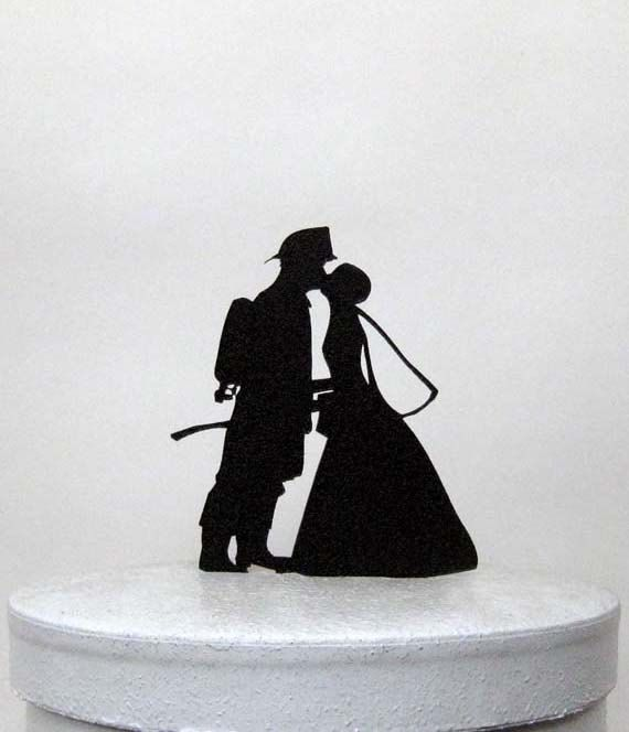 Wedding Cake Topper - Firefighter and Bride Silhouette Wedding Cake Topper