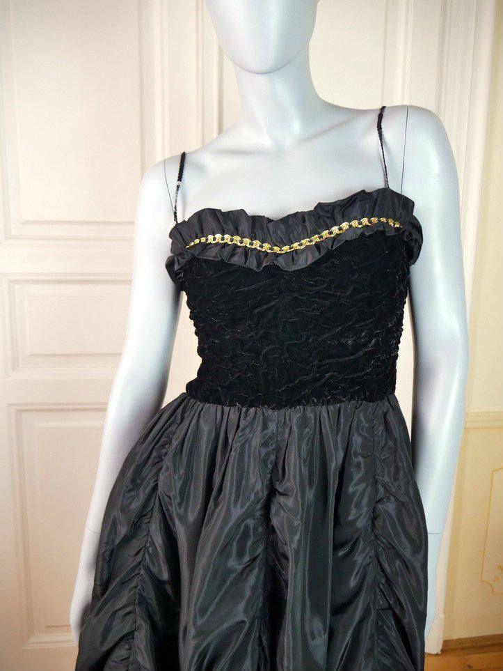 Hungarian Vintage Black Evening Dress, Sleeveless Black Cocktail Dress, Sequin Spaghetti Straps, Vintage Prom Dress: Size 6 US, Size 10 UK by YouLookAmazing on Etsy