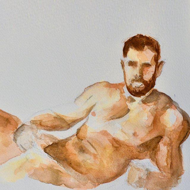 man watercolor painting