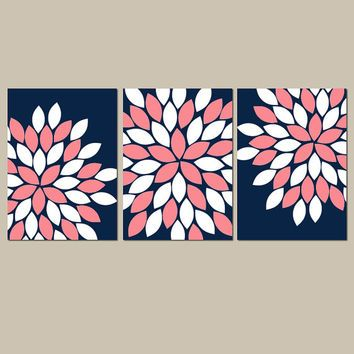 Navy Coral Wall Art, CANVAS or Prints Navy Coral Bedroom Pictures, Navy Coral Bathroom Artwork, Flower Burst, Set of 3 Navy Coral Nursery
