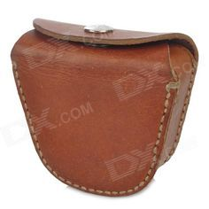 Simple purse for coins of split leather with buckle - Brown