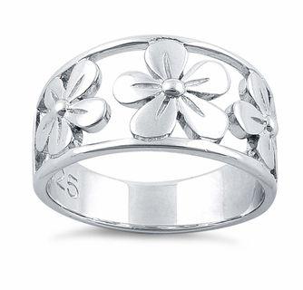 Sterling Silver 3 Flower Ring