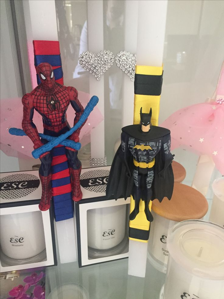 Boys Easter Candles Spider-Man and Batman