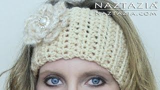 DIY Learn How to Crochet Easy Headband Wrap with Flower (Hair Head Band Ear Warmer) - YouTube