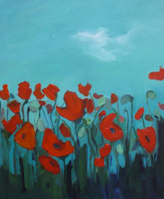 Red poppies, teal background