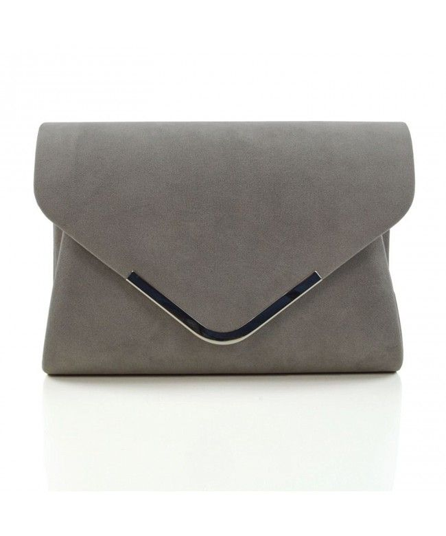 Silver Grey Wedding Clutch Bag Evening Bag Oversize Envelope Suede Made in Italy