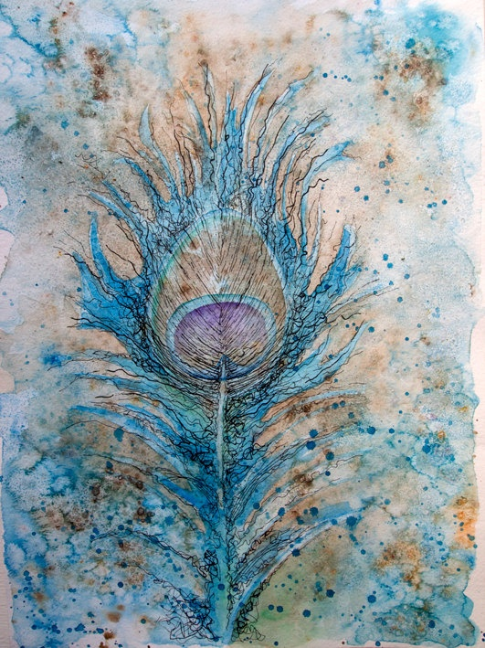 Blue Peacock Feather Watercolour Painting by JoolsYasities on Etsy
