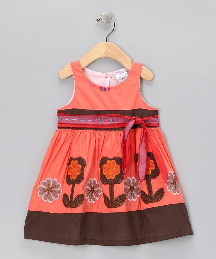Orange & Brown Flower Bow Dress