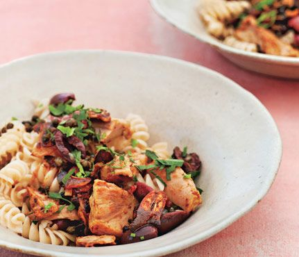 """Brown Rice Pasta with Tuna, Olives, Fried Capers via Gwyneth's """"It's All Good"""" cookbook. #SelfMagazine"""