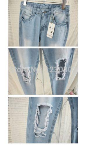 2014 джинсы разорвал проблемных уничтожено бойфренд обрезанные женщины промытых кислотой новый горячий купить на AliExpress