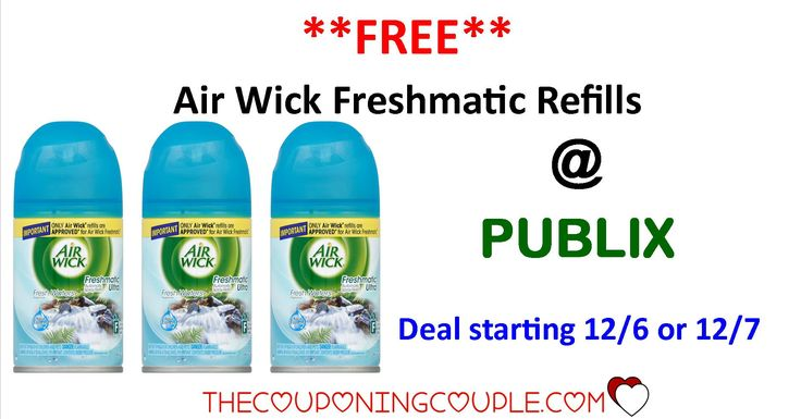 FREE Air Wick Freshmatic Refills @ Publix starting 12/6 or 12/7. Make you you check out this deal now so you don't miss the sale next week!  Click the link below to get all of the details ► http://www.thecouponingcouple.com/free-air-wick-freshmatic-refills/ #Coupons #Couponing #CouponCommunity  Visit us at http://www.thecouponingcouple.com for more great posts!