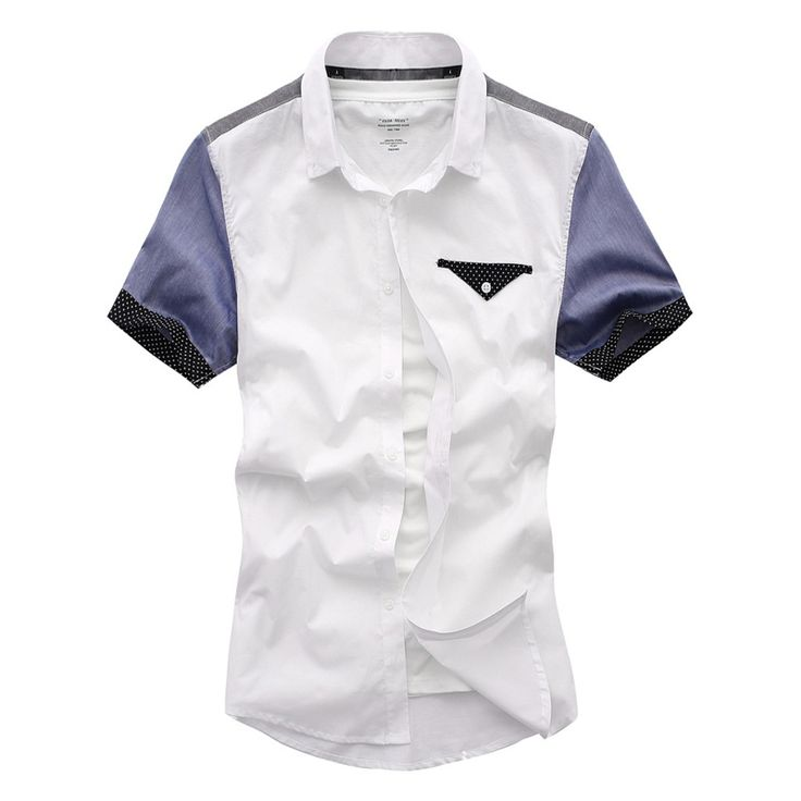 Be Gorgeous mens casual slim fashion short sleeve shirts camisa masculina White L