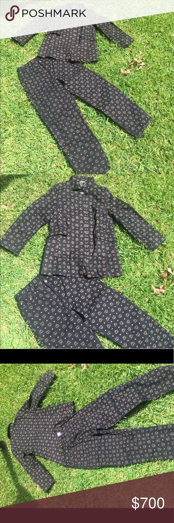 MCM Black With cognac MCM Jacket wit Pants Authentic Vintage MCM Black Jacket with Brown MCM MONOGRAM print on Jacket and Jeans. MCM Jackets & Coats