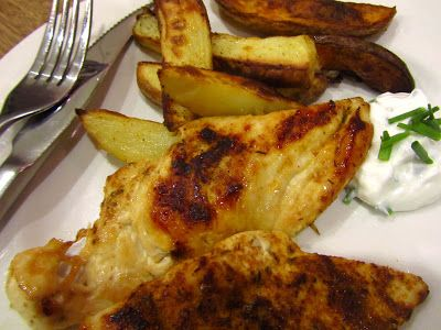 Hairy Dieters - Cajun spiced chicken with potato wedges and chive dip