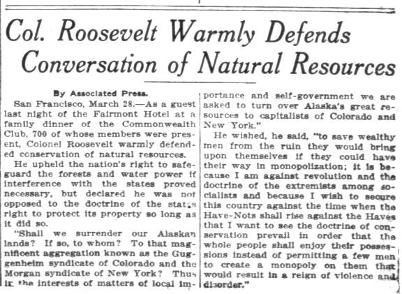 Col Teddy Roosevelt defends the conservation movement. From the Pensacola Journal-March 29, 1911.