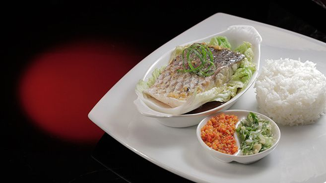 Steamed Barramundi with Chilli, Spring Onion and Ginger