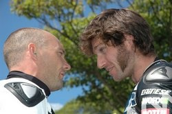Guy Martin and Keith Armor having a friendly chat before a race at the Isle of Man TT Races