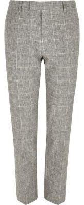 River Island Mens Grey check print skinny fit suit pants