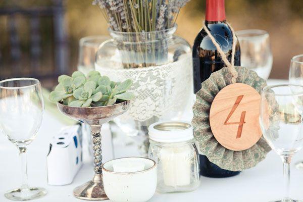 succulents, lavender, lace, wine bottles, candles, etc...
