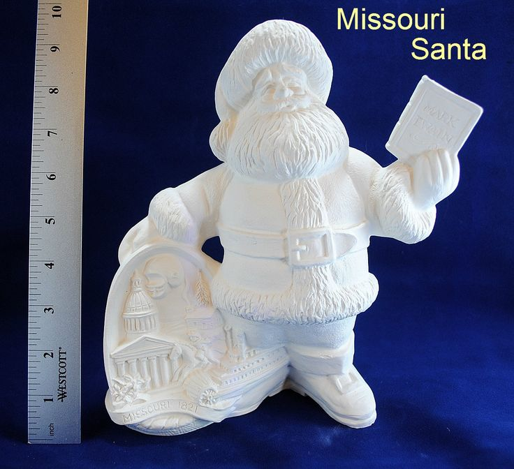 Missouri State Santa in ready to paint ceramic bisque, Ceramic Santa, u-paint, vintage ceramic Santa, Christmas ceramic, Christmas Santa by CWsCeramicsandBisque on Etsy