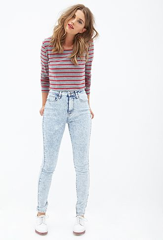 Mineral Wash Skinny Jeans | FOREVER21 - 2000119948