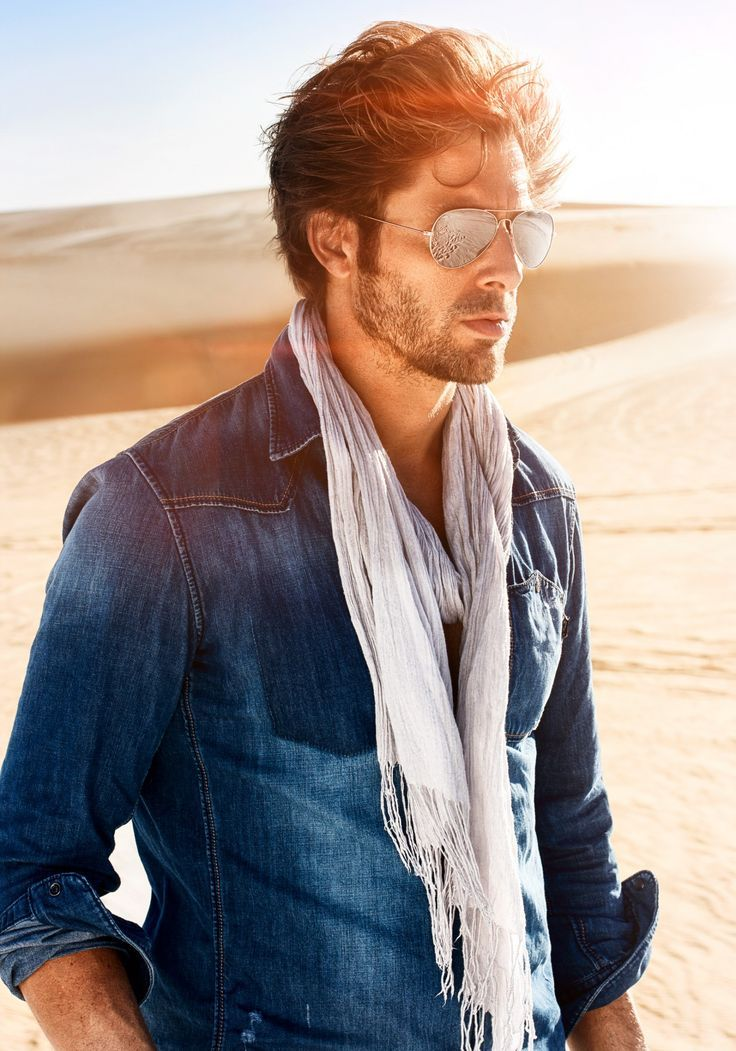 Denim shirt, scarf. You could pair this with a rugged pair of duck canvas pants or a great pair of sand colored denim for a great spring look