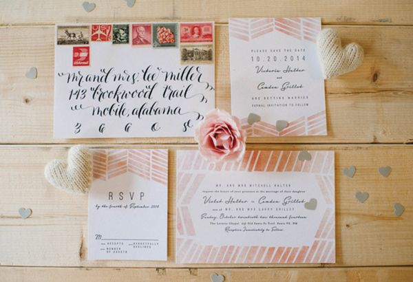 Blush coral wedding invites