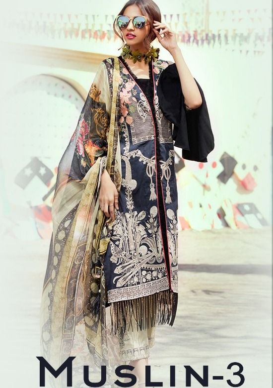 ae4e248469 Deepsy Suits Muslin Vol 3 Heavy Designer Printed Pure Cotton with Heavy Embroidery  Work Pakistani Style Dress Material Collection at Wholesale Rate