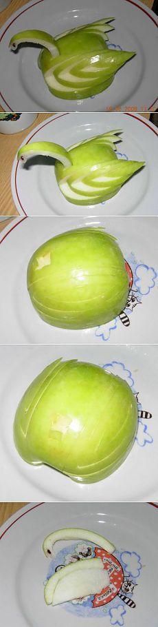 Cisne de manzana: Ornamento de platos.  Paso a paso