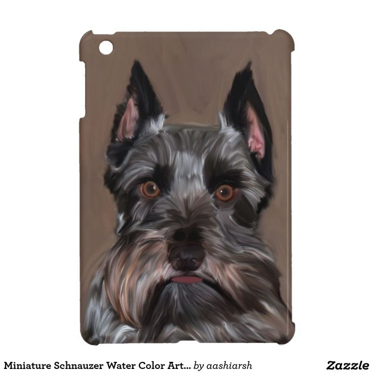 #Miniature #Schnauzer Water Color Art #Painting Cover For The #iPad Mini #animal #dog #pet