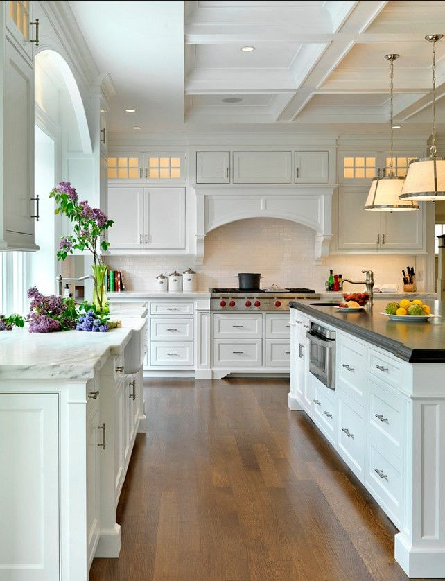 White kitchen with coffer ceiling | Jan Gleysteen Architects, Inc.