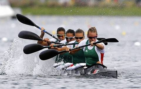 The synchronised movement of the Hungarian Women's Kayak four (K4) team, Gold medal winners at the London Olympics 2012 (Sorry don't know who is who, but team members are Krisztina Fazekas, Katalin Kovács, Danuta Kozak and Gabriella Szabó)