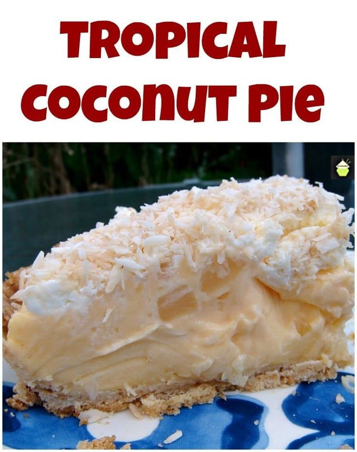 TROPICAL COCONUT PIE! It is so creamy and has a rich coconut flavor, laced throughout with juicy pineapple chunks and a sweet crispy pie crust. Heavenly! | Lovefoodies.com