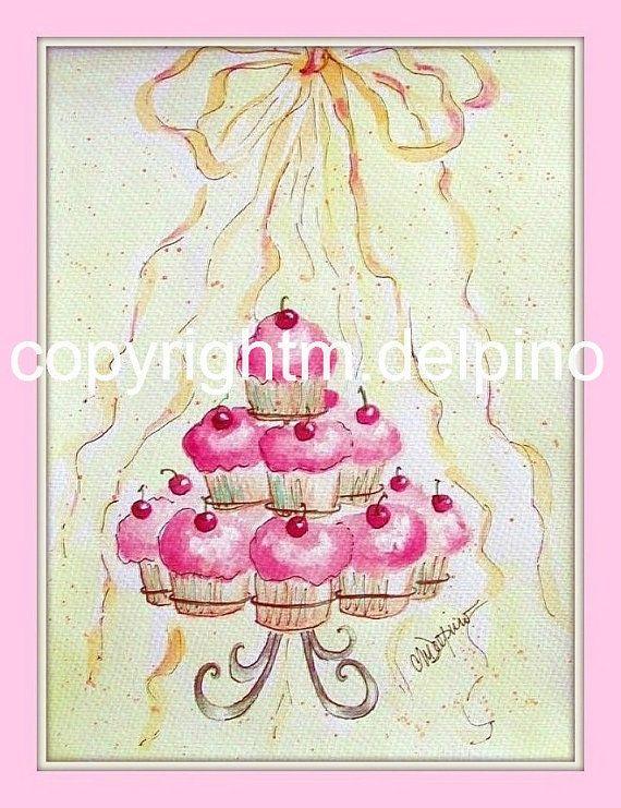 Cupcake stand cupcake display print pink art painting wall decor kitchen bakery cake dessert