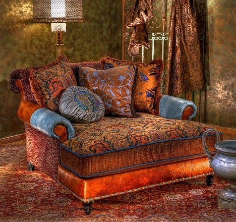 Dishfunctional Designs: The Bohemian Chair - In orange rust and duck egg blue velvet paisley, I love oversized chairs.  Makes me want to just curl up with a good book and a hot cup of tea.