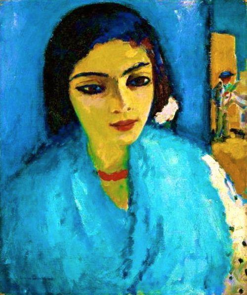 Femme En Bleu Au Collier Rouge - Kees van Dongen